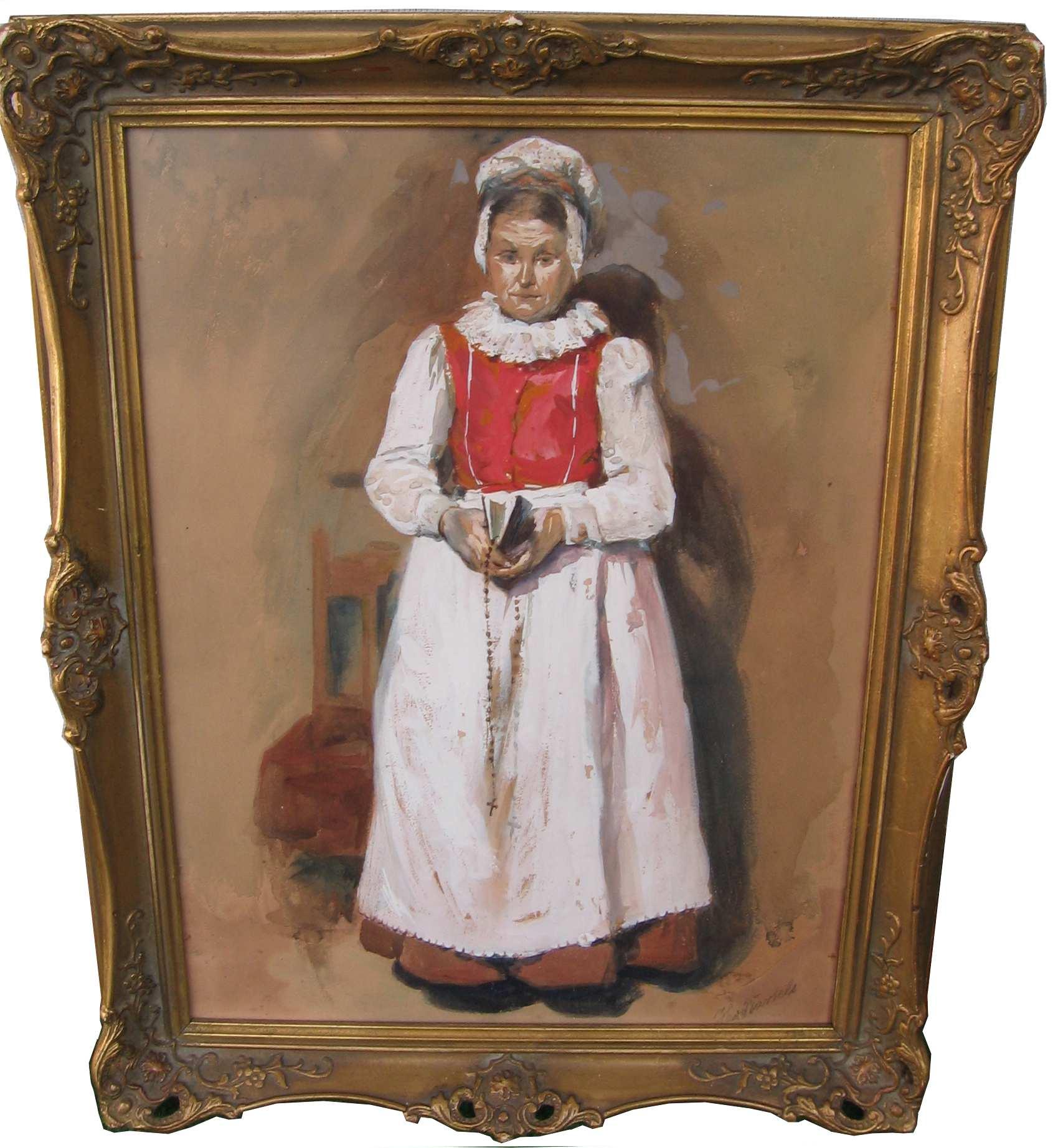 von Bartels Hans 1856-1913 Frau in Tracht mit Bibel und